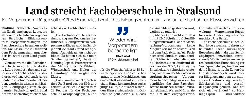 Beitrag der Ostsee-Zeitung -  Land streicht Fachoberschule in Stralsund - Mit Vorpommern-Rügen soll größtes Regionales Bildungszentrum im Land auf die Fachabitur-Klasse verzichten - OZ vom 20. Juni 2017 - Ausgabe Ribnitz-Damgarten - Seite 9