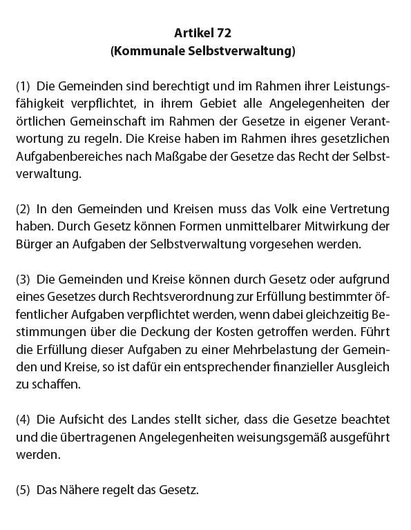 Verfassung des Landes Mecklenburg-Vorpommern - Kommunale Selbstverwaltung - Artikel 72