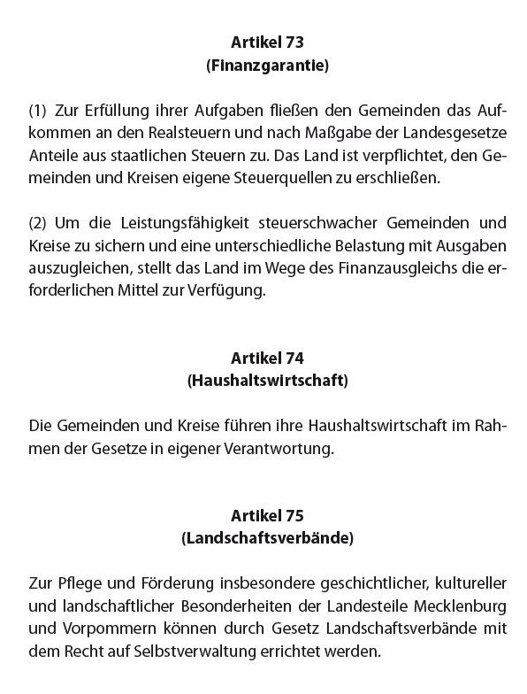 Verfassung des Landes Mecklenburg-Vorpommern - Finanzgarantie - Artikel 73