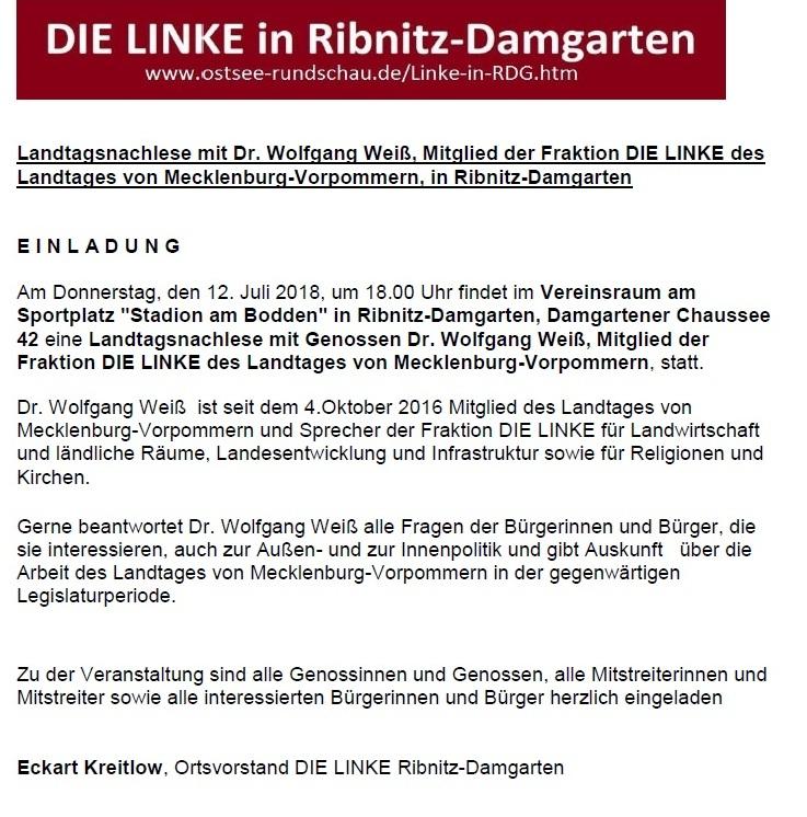 Einladung zur Landtagsnachlese mit dem Landtagsabgeordneten von Mecklenburg-Vorpommern Dr. Wolfgang Weiß am 12. Juli 2018 in Ribnitz-Damgarten