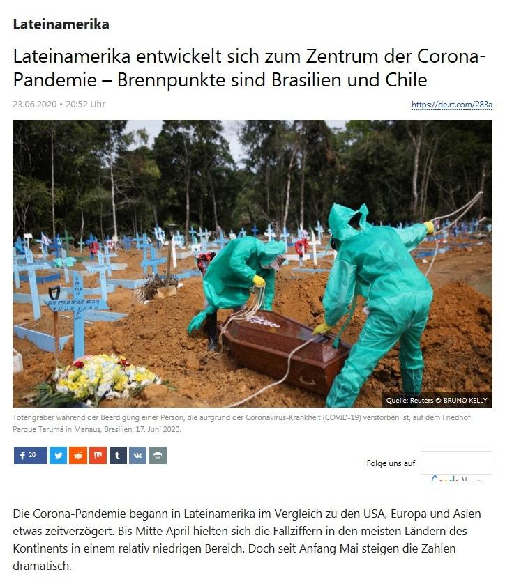 Lateinamerika - Lateinamerika entwickelt sich zum Zentrum der Corona-Pandemie – Brennpunkte sind Brasilien und Chile - RT Deutsch - 23.06.2020