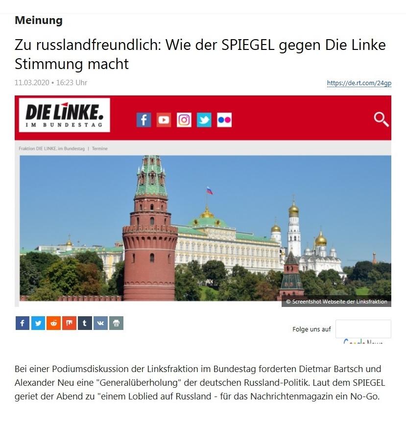 Meinung - Zu russlandfreundlich: Wie der SPIEGEL gegen Die Linke Stimmung macht - RT DEUTSCH - 11.03.2020