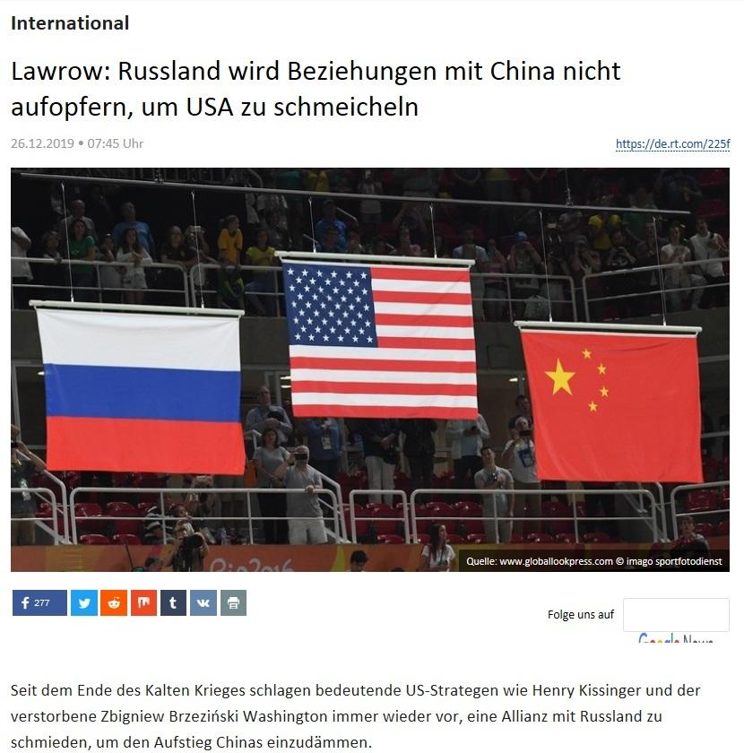 International - Lawrow: Russland wird Beziehungen mit China nicht aufopfern, um USA zu schmeicheln