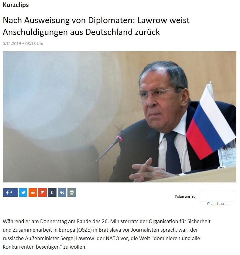Kurzclips - Nach Ausweisung von Diplomaten: Lawrow weist Anschuldigungen aus Deutschland zurück