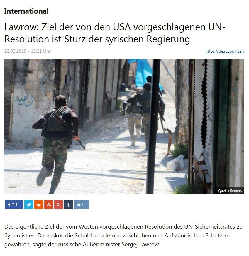 International - Lawrow: Ziel der von den USA vorgeschlagenen UN-Resolution ist Sturz der syrischen Regierung
