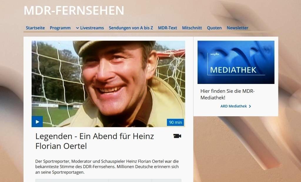 Aus dem Posteingang von Dr. Marianne Linke - Legenden - Ein Abend für Heinz Florian Oertel - Der Sportreporter, Moderator und Schauspieler Heinz Florian Oertel war die bekannteste Stimme des DDR-Fernsehens. - MDR-Fernsehen