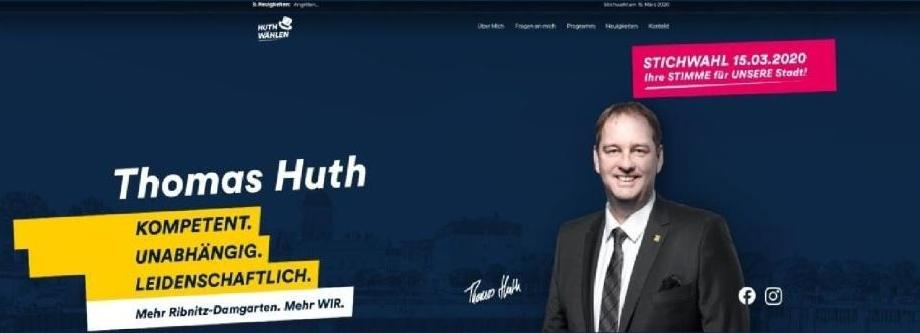 Bürgermeisterwahl Ribnitz-Damgarten 2020 - Kompetenz trifft Leidenschaft - Stichwahl am 15.März 2020 - Thomas Huth wählen