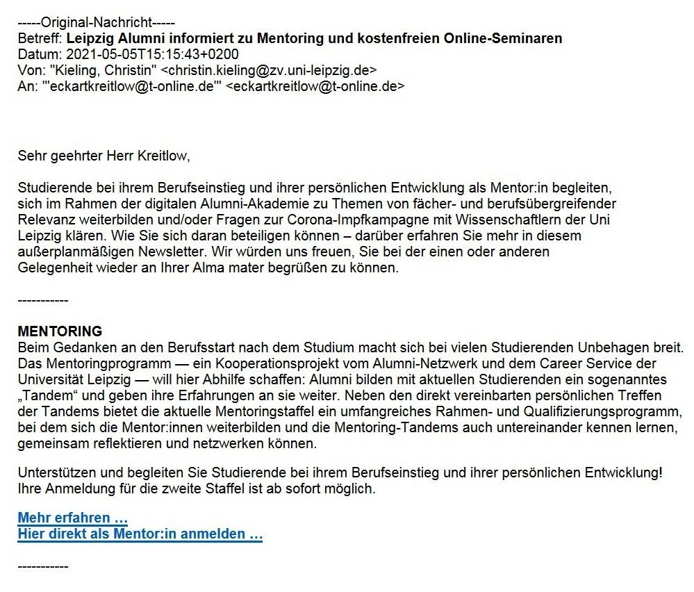 Leipzig Alumni informiert zu Mentoring und kostenfreien Online-Seminaren - Aus dem Alumniposteingang vom 05.05.2021 - Abschnitt 1