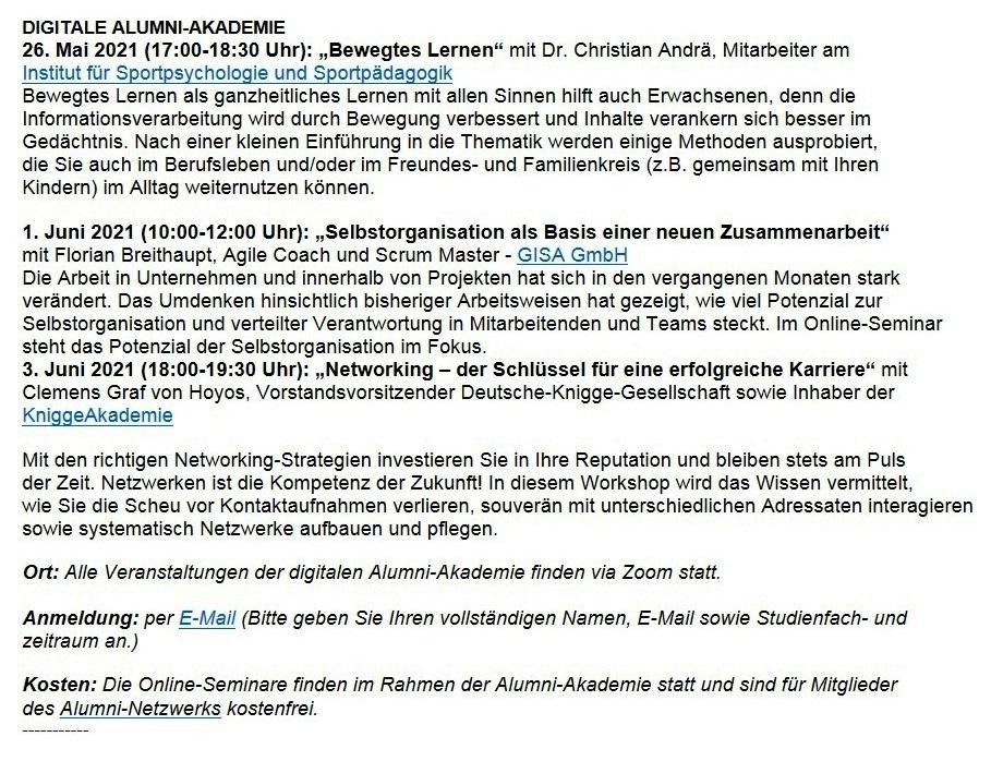 Leipzig Alumni informiert zu Mentoring und kostenfreien Online-Seminaren - Aus dem Alumniposteingang vom 05.05.2021 - Abschnitt 2