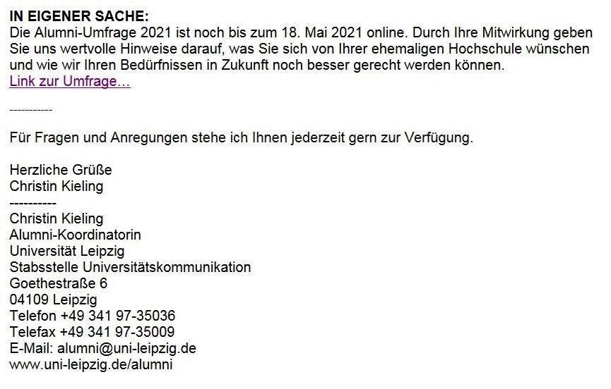 Leipzig Alumni informiert zu Mentoring und kostenfreien Online-Seminaren - Aus dem Alumniposteingang vom 05.05.2021 - Abschnitt 4