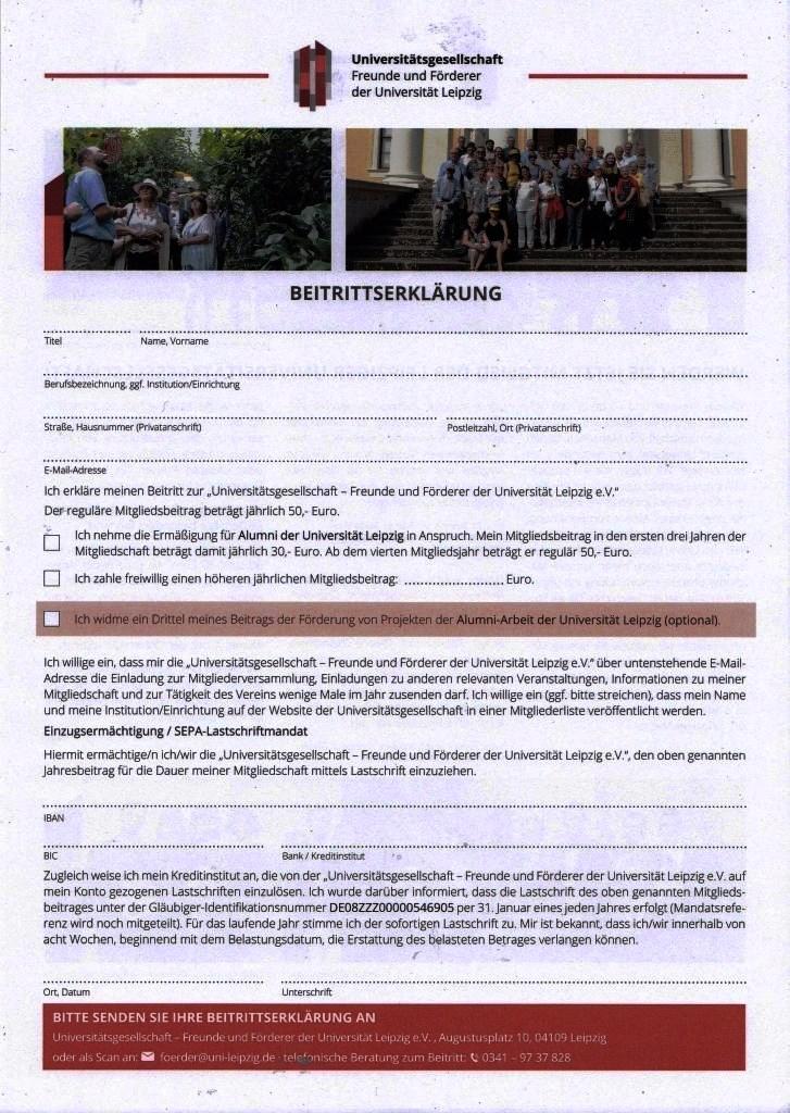 Aus dem Posteingang von der Universität Leipzig vom 12.12.2020  - Leipziger Universitätsgesellschaft - Mitglied werden - Antrag