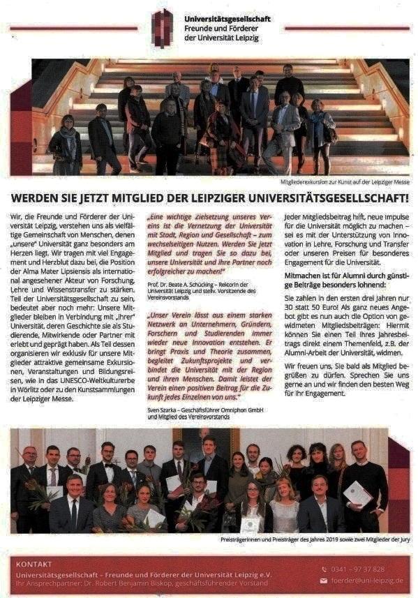 Aus dem Posteingang von der Universität Leipzig vom 12.12.2020  - Leipziger Universitätsgesellschaft - Mitglied werden