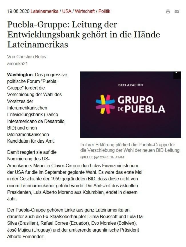 - amerika21 - Nachrichten und Analysen aus Lateinamerika - 19.08.2020