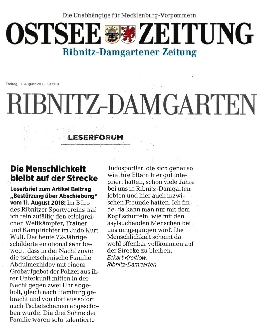 OZ-Leserbrief von Eckart Kreitlow - Die Menschlichkeit bleibt auf der Strecke - veröffentlicht in der Ribnitz-Damgartener Ausgabe Freitag, 17. August 2018 auf Seite 11 unter Leserforum