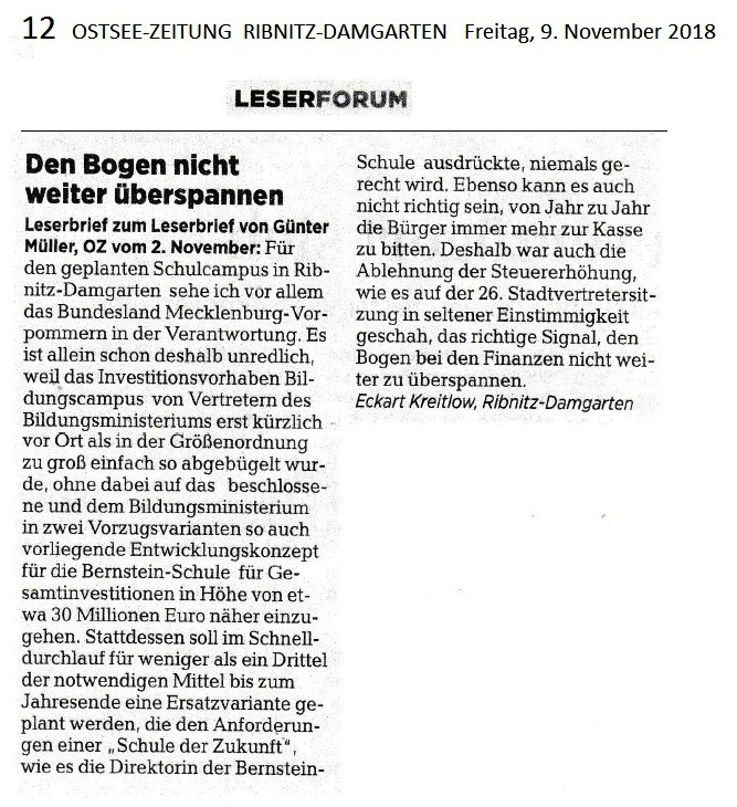 Der auf der Lokalseite  Ribnitz-Damgarten der Ostsee-Zeitung am Freitag, den 9. November 2018, auf Seite 12 im Leserforum unter der Überschrift 'Den Bogen nicht weiter überspannen' veröffentlichte Leserbrief