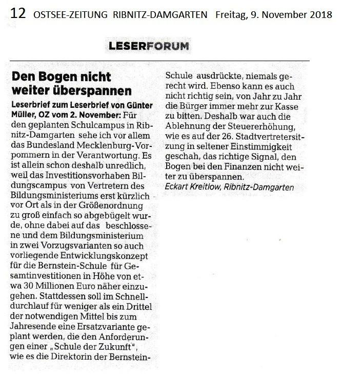 Der auf der Lokalseite  Ribnitz-Damgarten der Ostsee-Zeitung am Freitag, den 9. November 2018, auf Seite 12 im Leserforum unter der Überschrift 'Den Bogen nicht weiter überspannen' veröffentlichte Leserbrief