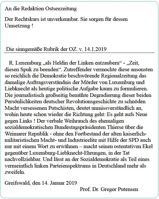 Leserbrief vom 14. Januar 2019 an die Ostsee-Zeitung von Professor Dr. Gregor Putensen, Greifswald - Der Rechtskurs ist unverkennbar. Sie sorgen für dessen Umsetzung!