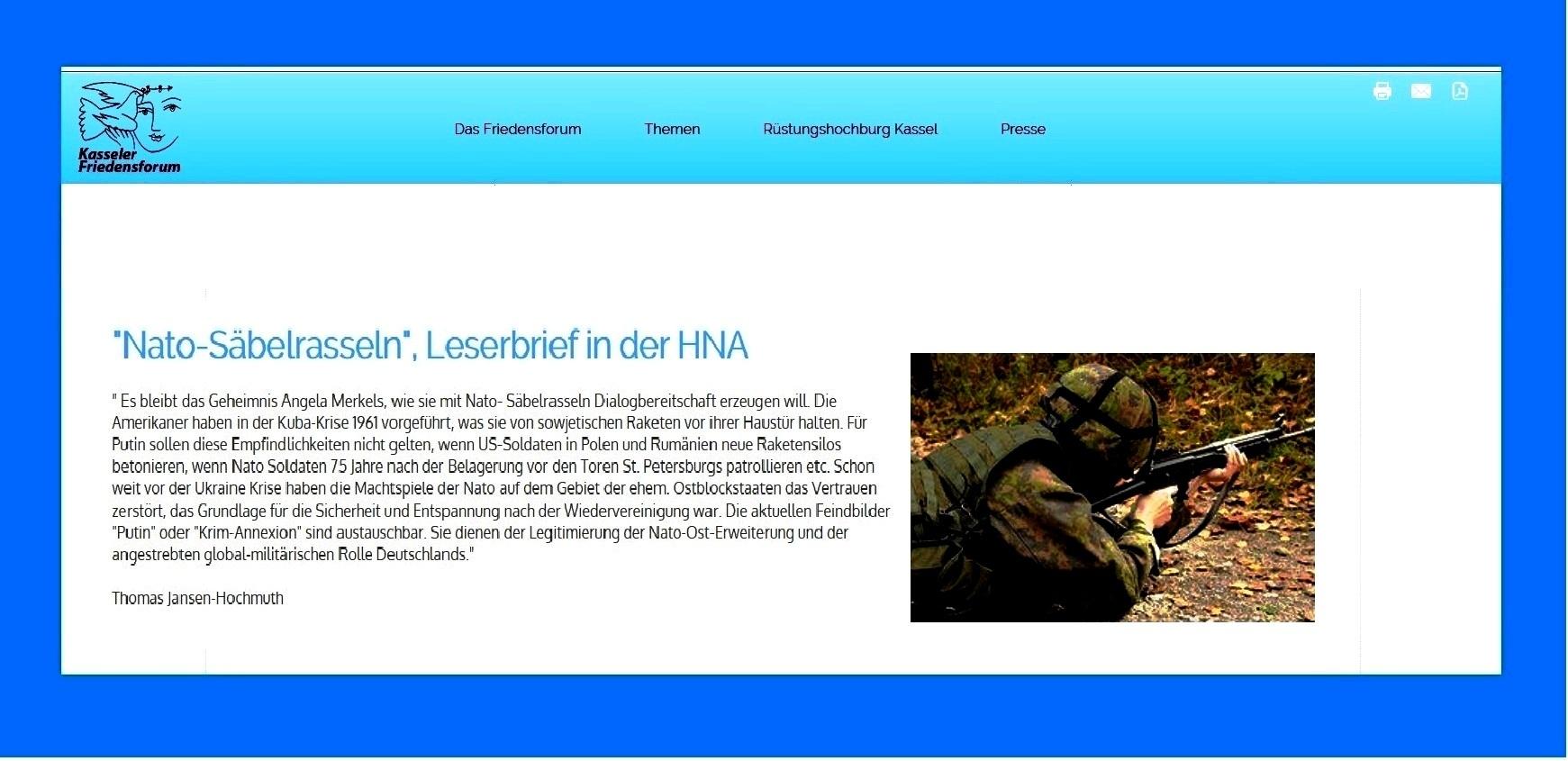 Kasseler Friedensforum - Leserbrief in der HNA