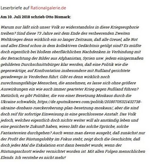 Leserbriefe an Rationalgalerie.de - Am 10. Juli 2018 schrieb Otto Bismark zu dem Artikel 'FAZ im Dienst der US-Navy - Bezahlte Werbung für den Krieg der USA auf Welt-Meeren' Autor: Uli Gellermann
