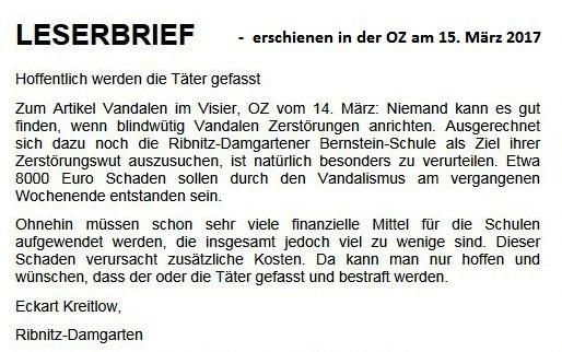 Leserbrief an die Ostsee-Zeitung zum Vandalismus an der bernsteinSchule Ribnitz-Damgarten - erschienen in der OZ am 15.03.2017