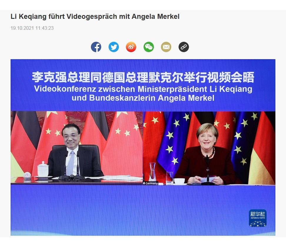 Li Keqiang führt Videogespräch mit Angela Merkel - 19.10.2021 11:43:23 - CRI online Deutsch - Link: http://german.cri.cn/aktuell/alle/3250/20211019/708825.html