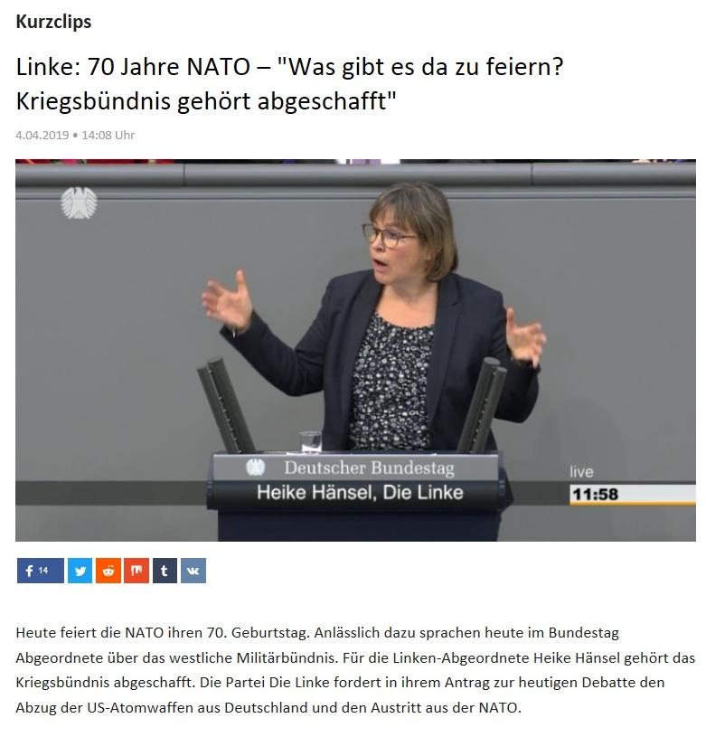 Kurzclips - Linke: 70 Jahre NATO – 'Was gibt es da zu feiern? Kriegsbündnis gehört abgeschafft'