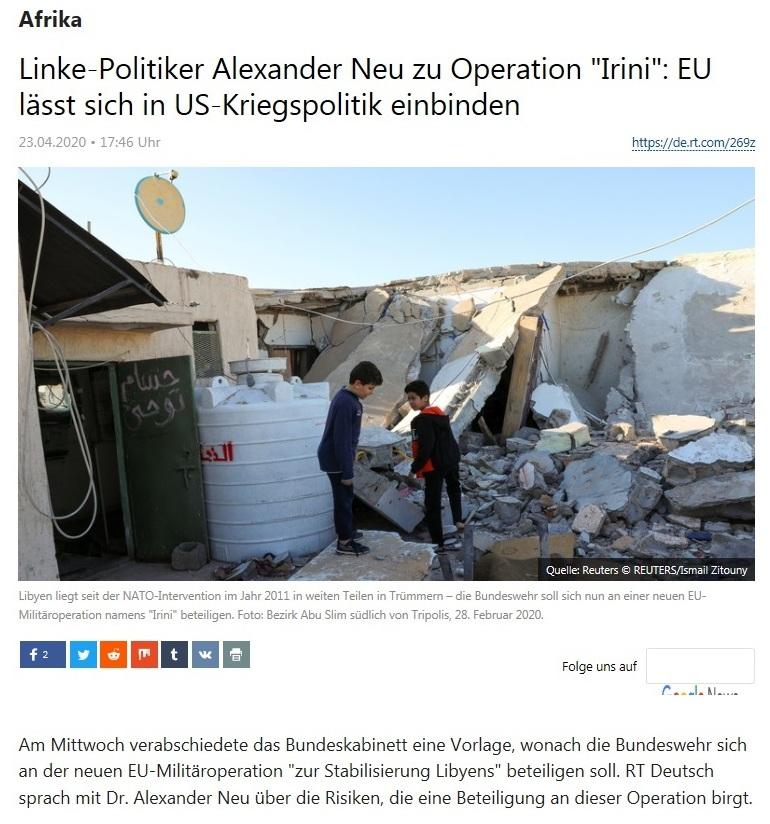Afrika - Linke-Politiker Alexander Neu zu Operation 'Irini': EU lässt sich in US-Kriegspolitik einbinden  - RT Deutsch - 23.04.2020