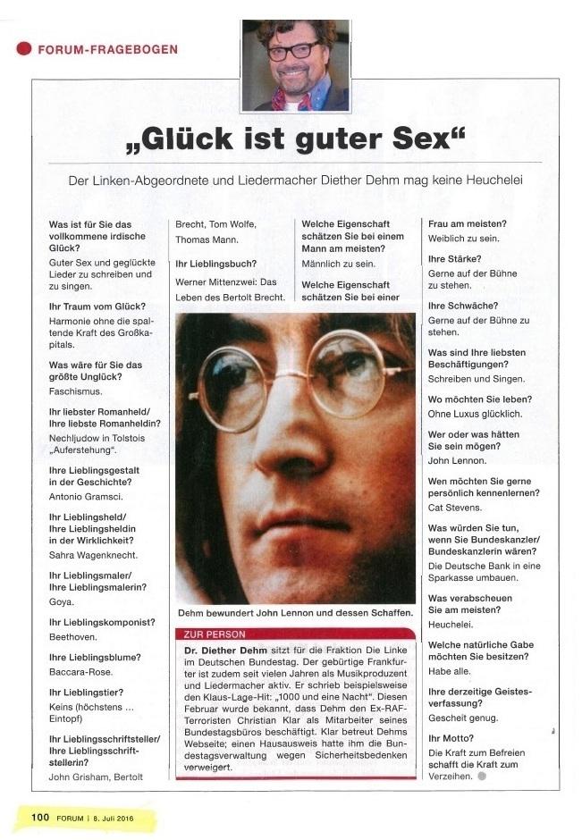 Linke Stimmen - Bundestagsabgeordneter Fraktion DIE LINKE - Dr. Diether Dehm - Forum-Fragebogen - Glück ist guter Sex - Der Linken-Abgeordnete und Liedermacher Diether Dehm mag keine Heuchelei
