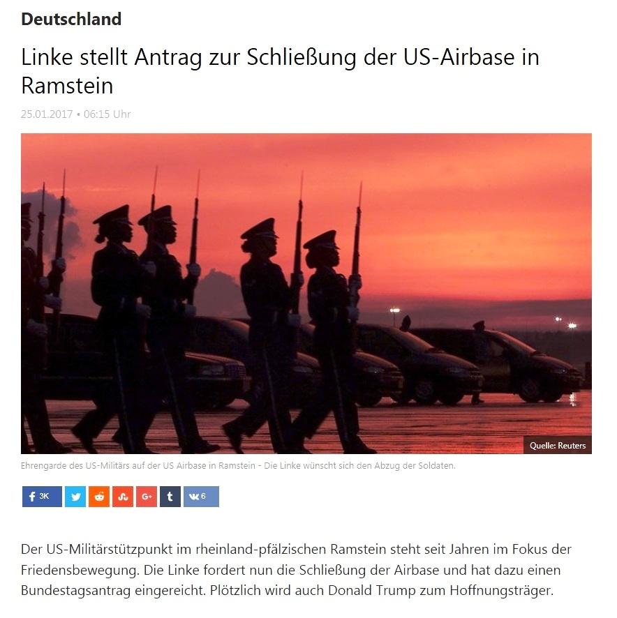 RT deutsch - Linke stellt Antrag zur Schließung der US-Airbase in Ramstein - 25.01.2017