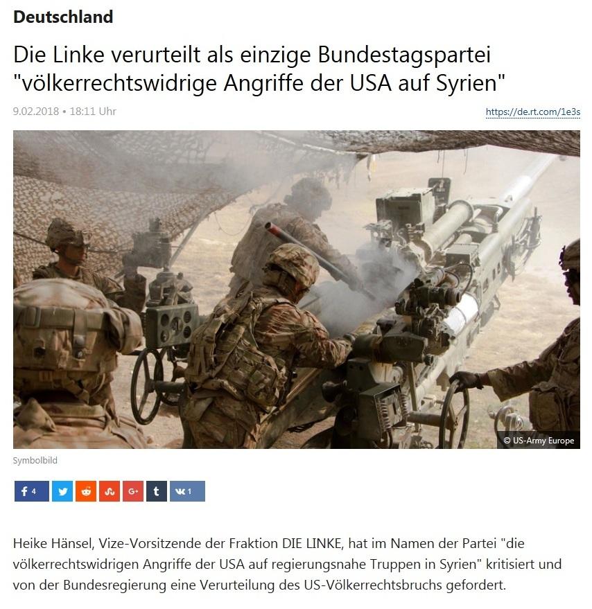 Die Linke verurteilt als einzige Bundestagspartei 'völkerrechtswidrige Angriffe der USA auf Syrien'