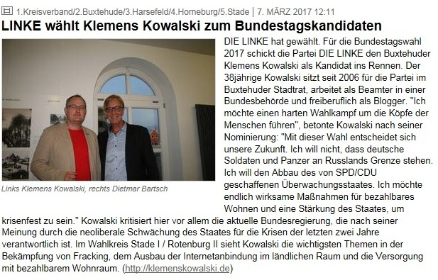 Linke wählt Klemens Kowalski zum Bundestagskandidaten