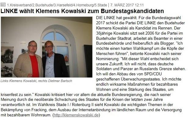 Linke wählt Klemens Kowalski zum Bundestagskandidaten