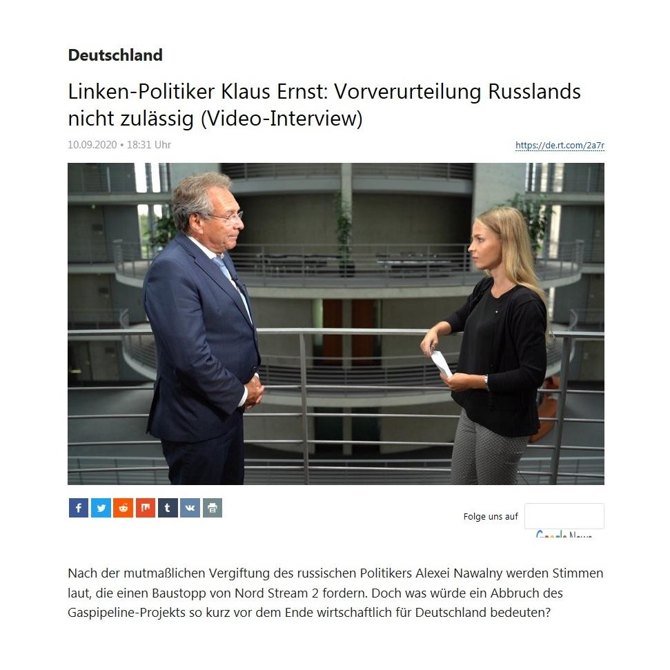Deutschland - Linken-Politiker Klaus Ernst: Vorverurteilung Russlands nicht zulässig (Video-Interview)  - RT Deutsch - 10.09.2020