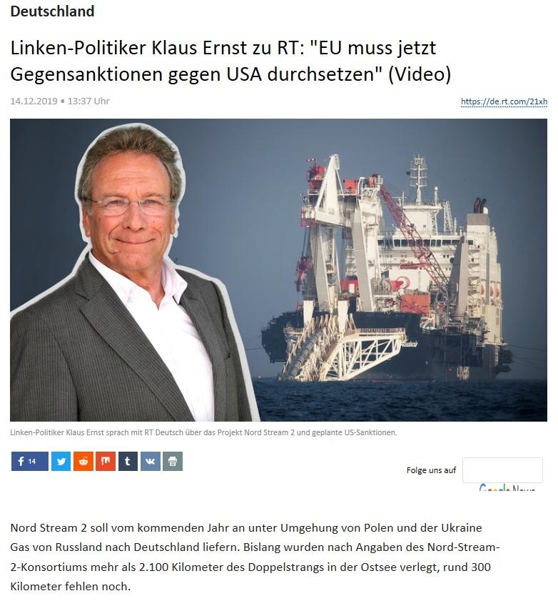 Deutschland -  Linken-Politiker Klaus Ernst zu RT: 'EU muss jetzt Gegensanktionen gegen USA durchsetzen' (Video)