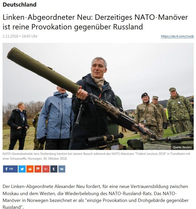 Deutschland - Linken-Abgeordneter Neu: Derzeitiges NATO-Manöver ist reine Provokation gegenüber Russland