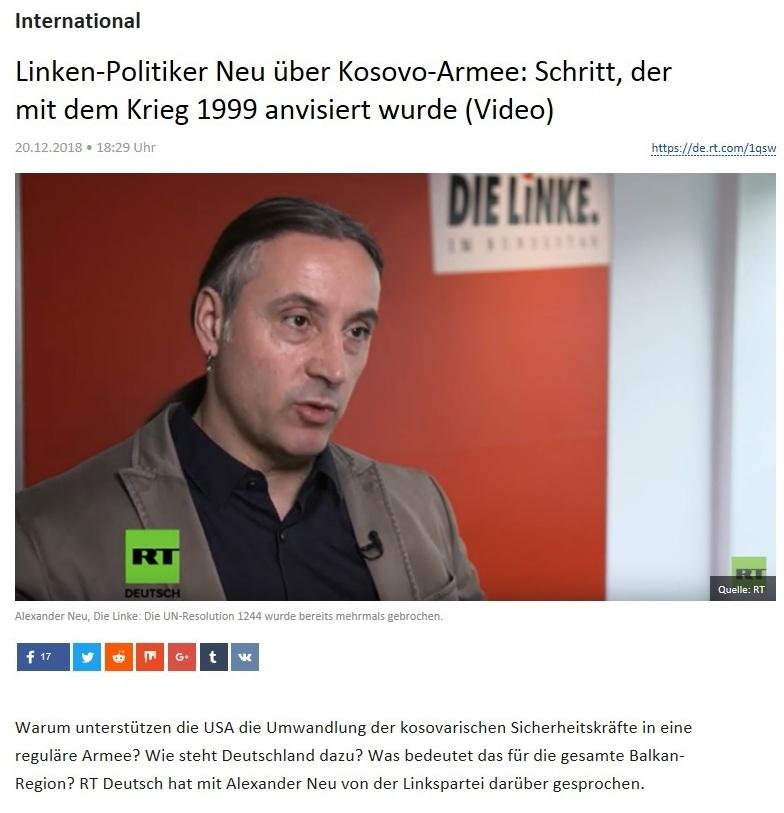 International - Linken-Politiker Neu über Kosovo-Armee: Schritt, der mit dem Krieg 1999 anvisiert wurde (Video)