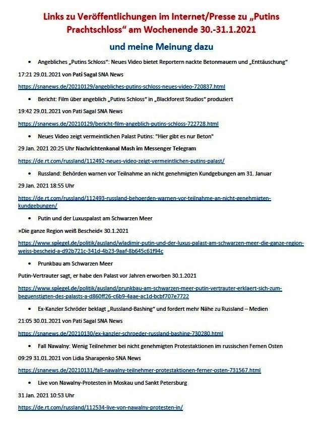 Links zu Putins 'Prachtschloss' und meine Meinung dazu - Aus dem Posteingang von Siegfried Dienel vom 31.01.2021 - Abschnitt 1 von 5 Abschnitten