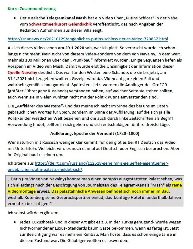 Links zu Putins 'Prachtschloss' und meine Meinung dazu - Aus dem Posteingang von Siegfried Dienel vom 31.01.2021 - Abschnitt 3 von 5 Abschnitten