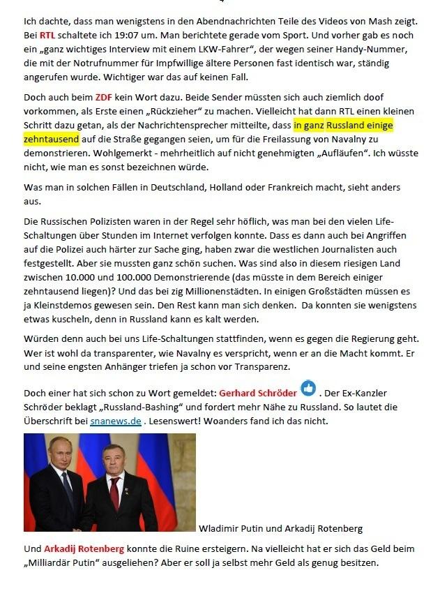 Links zu Putins 'Prachtschloss' und meine Meinung dazu - Aus dem Posteingang von Siegfried Dienel vom 31.01.2021 - Abschnitt 4 von 5 Abschnitten