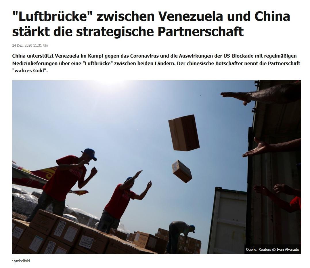 'Luftbrücke' zwischen Venezuela und China stärkt die strategische Partnerschaft - RT DE - 24 Dez. 2020 11:31 Uhr