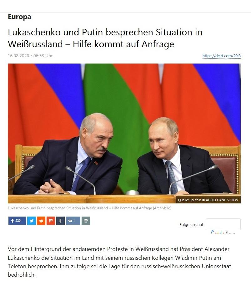 Europa - Lukaschenko und Putin besprechen Situation in Weißrussland – Hilfe kommt auf Anfrage - RT Deutsch - 16.08.2020
