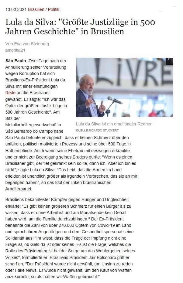 Lula da Silva: 'Größte Justizlüge in 500 Jahren Geschichte' in Brasilien - Von Eva von Steinburg - amerika21 - Nachrichten und Analysen aus Lateinamerika - 13.03.2021