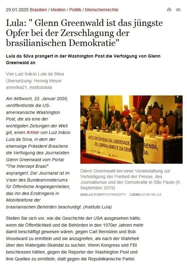 Lula: 'Glenn Greenwald ist das jüngste Opfer bei der Zerschlagung der brasilianischen Demokratie'  - amerika21 - Nachrichten und Analysen aus Lateinamerika - 29.01.2020