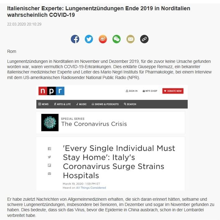 Italienischer Experte: Lungenentzündungen Ende 2019 in Norditalien wahrscheinlich COVID-19 - China Radio International - CRI online Deutsch -  22.03.2020