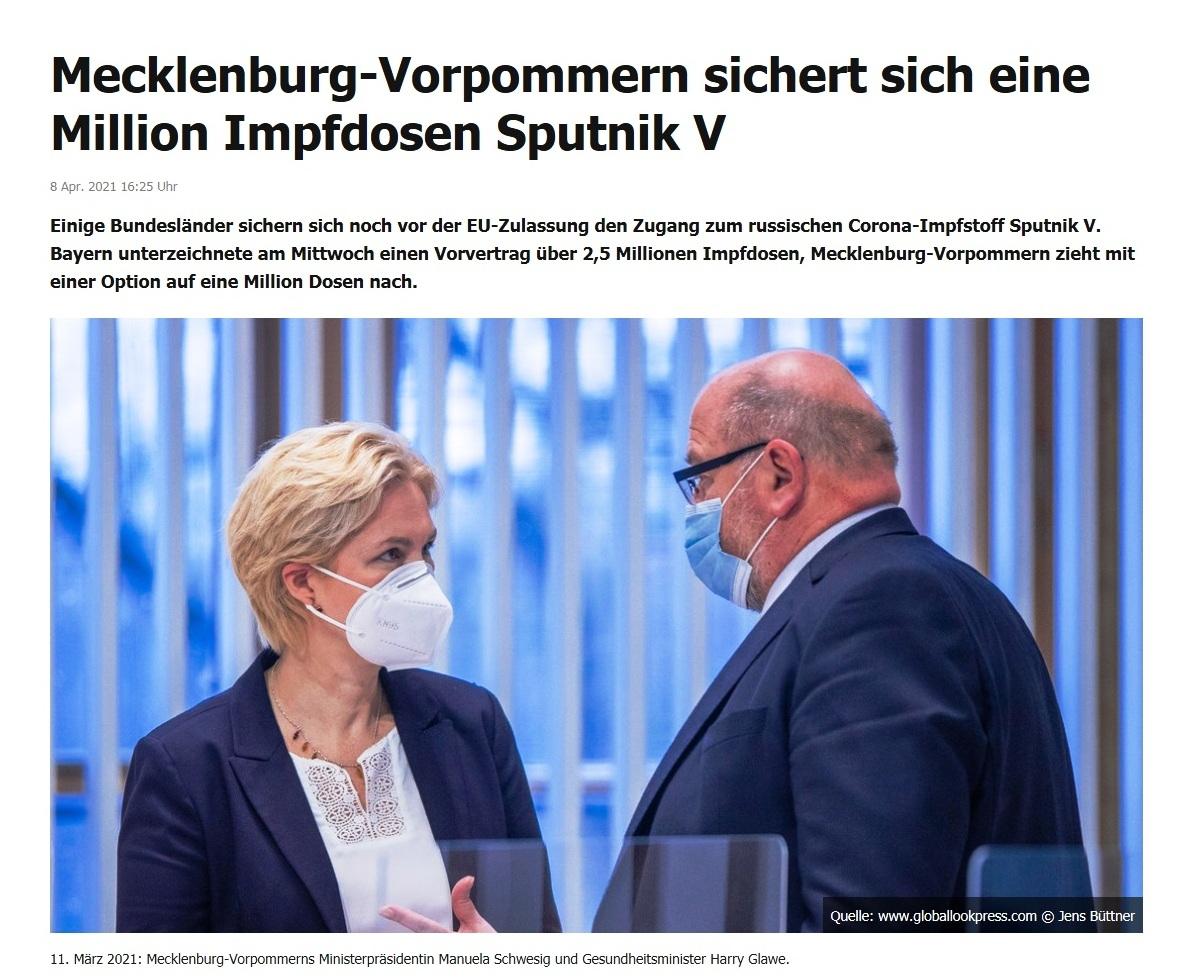 Mecklenburg-Vorpommern sichert sich eine Million Impfdosen Sputnik V -  RT DE -  8 Apr. 2021 16:25 Uhr