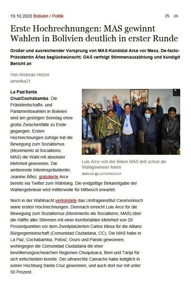 Erste Hochrechnungen: MAS gewinnt Wahlen in Bolivien deutlich in erster Runde - Großer und ausreichender Vorsprung von MAS-Kandidat Arce vor Mesa. De-facto-Präsidentin Áñez beglückwünscht. OAS verfolgt Stimmenauszählung und kündigit Bericht an - amerika21 - Nachrichten und Analysen aus Lateinamerika - 19.10.2020