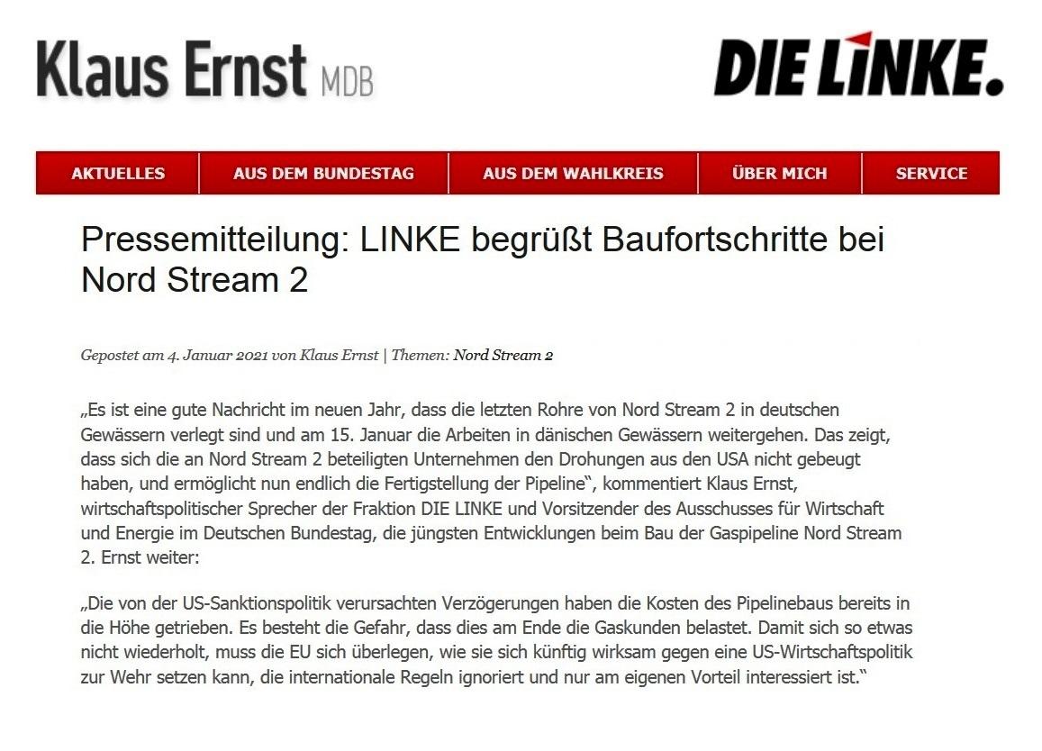 Aus dem Posteingang - Pressemitteilung: LINKE begrüßt Baufortschritte bei Nord Stream 2 - 08.01.2021 17:21:51