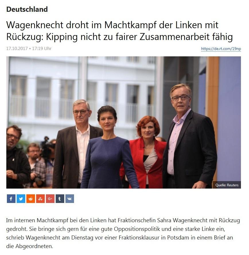 Wagenknecht droht im Machtkampf der Linken mit Rückzug: Kipping nicht zu fairer Zusammenarbeit fähig