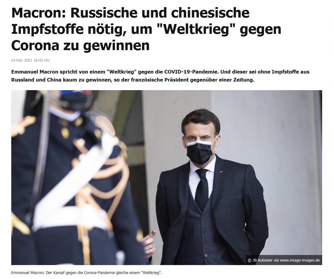 Macron: Russische und chinesische Impfstoffe nötig, um 'Weltkrieg' gegen Corona zu gewinnen - RT DE - 14 Feb. 2021 18:42 Uhr