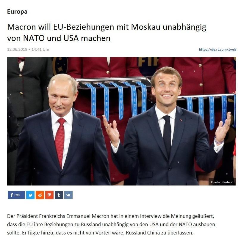 Europa - Macron will EU-Beziehungen mit Moskau unabhängig von NATO und USA machen